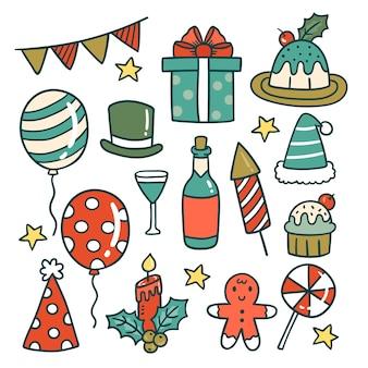 Collezione di elementi di festa di capodanno disegnati a mano