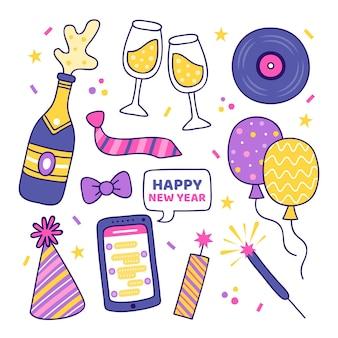 手描きの新年パーティー要素コレクション