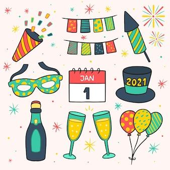 손으로 그린 새해 파티 요소 컬렉션