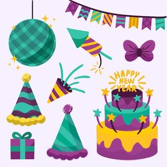 Коллекция рисованной новогодней вечеринки