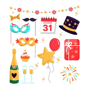 Hand drawn new year party element collection