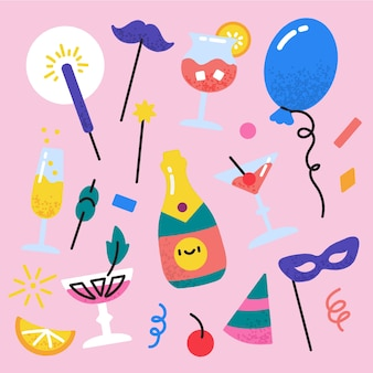 Hand drawn new year party element set