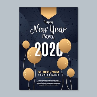 Hand-drawn new year party poster template