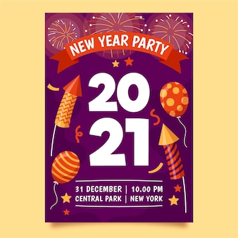 Hand drawn new year party poster template