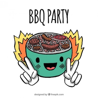 Hand drawn nice bbq party illustration Free Vector