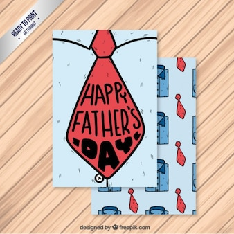 Hand drawn nice father's day card with a tie