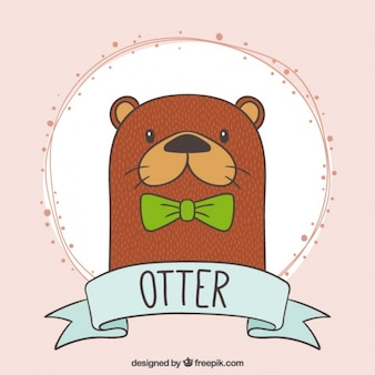 Hand drawn nice otter with a green bow