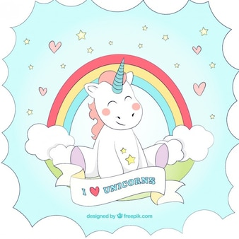 Hand drawn nice unicorn background with a rainbow
