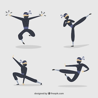 Hand drawn ninja character collection in different poses