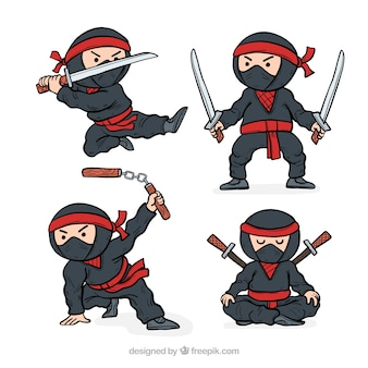 Hand drawn ninja character collection