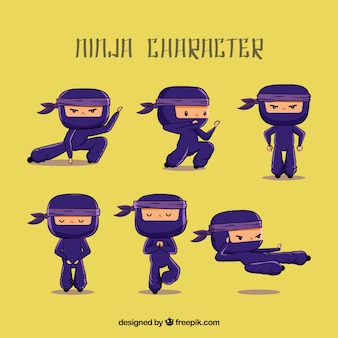 Hand drawn ninja character in different poses
