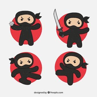 異なるポーズで手描きの忍者キャラクター