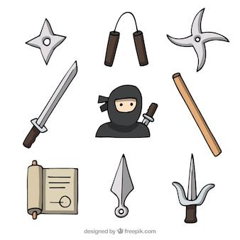 手描きの忍者要素コレクション