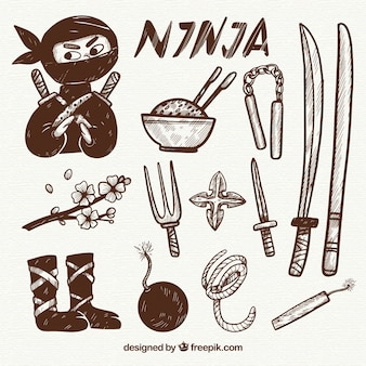 Hand drawn ninja element collection