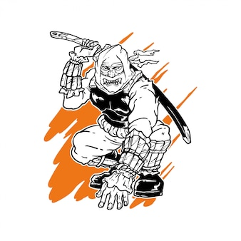 Hand drawn ninja illustration