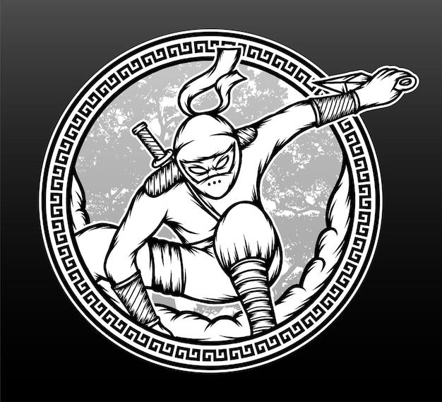 Hand drawn ninja shinobi illustration.