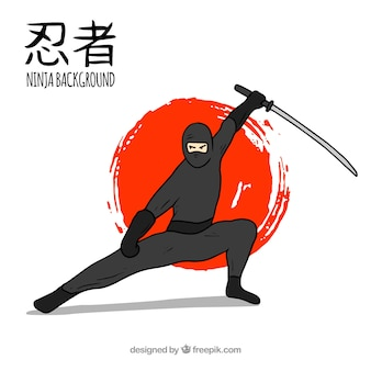 Hand drawn ninja warrior background