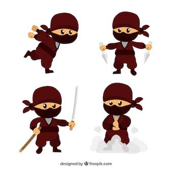 Collezione di guerrieri ninja disegnati a mano