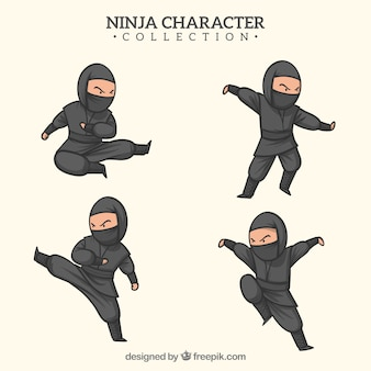 Hand drawn ninja warrior in different poses