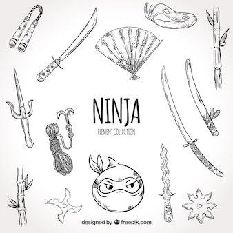 Hand drawn ninja warrior element collection