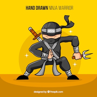 Hand drawn ninja warrior