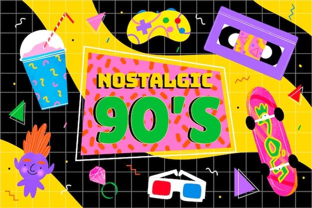 Hand drawn nostalgic 90's background