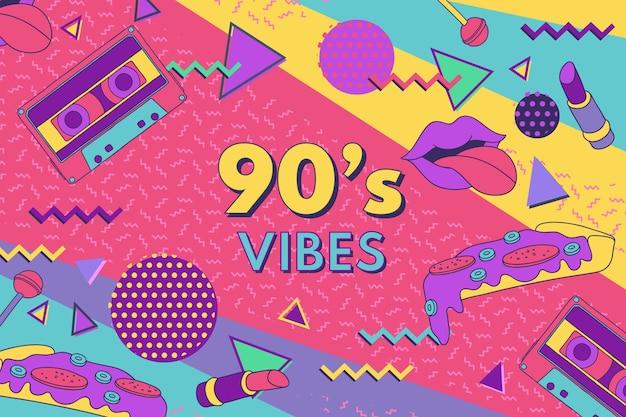Ручной обращается ностальгический фон 90-х