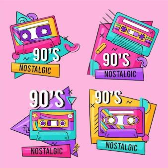 Hand drawn nostalgic 90's badges