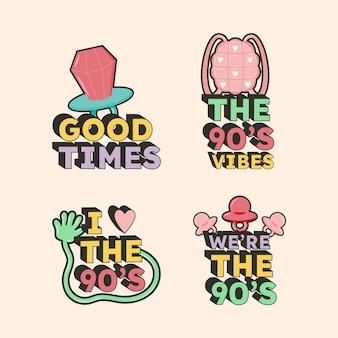 Distintivi nostalgici anni '90 disegnati a mano