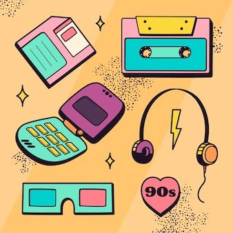 손으로 그린 향수를 불러일으키는 90년대 요소 컬렉션