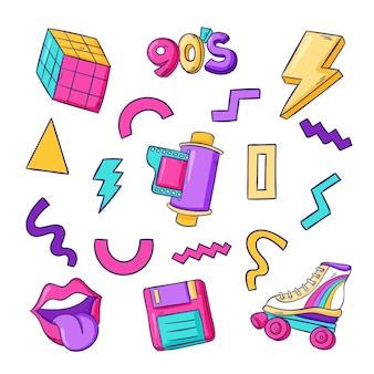 Hand drawn nostalgic 90's elements collection