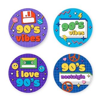 Collezione di badge nostalgici disegnati a mano