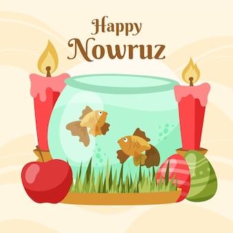 Hand drawn nowruz illustrated elements