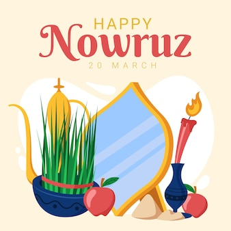 Hand drawn nowruz illustrated items