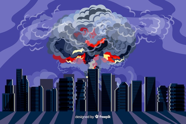 Hand drawn nuclear explosion in a city