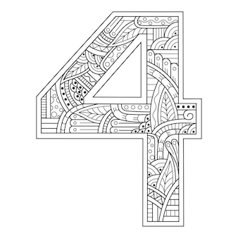 Hand drawn of number four in zentangle style