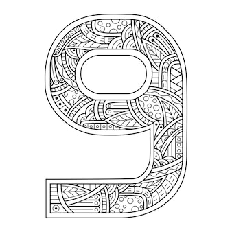 Hand drawn of number nine  in zentangle style