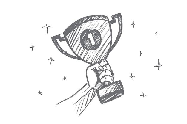 손으로 그린 된 넘버 원 컨셉 스케치