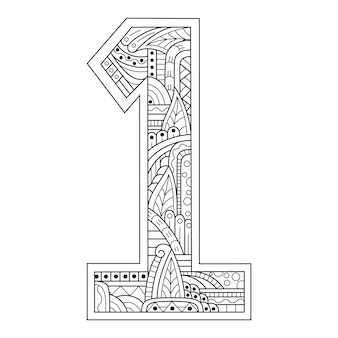 Hand drawn of number one in zentangle style