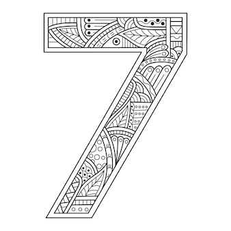 Hand drawn of number seven in zentangle style