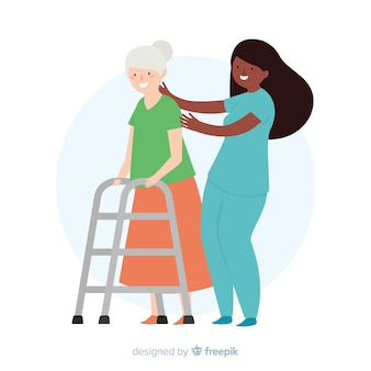 Hand drawn nurse helping patient background