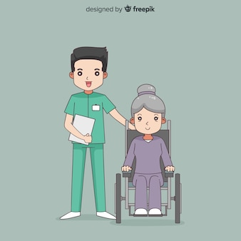 Hand drawn nurse helping patient