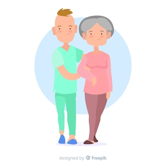 Hand drawn nurse taking care of patient