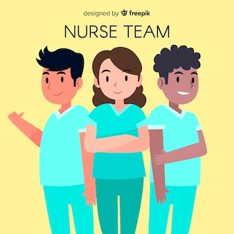 Sfondo di squadra infermiera disegnata a mano