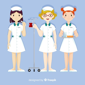 Hand drawn nurse team collection