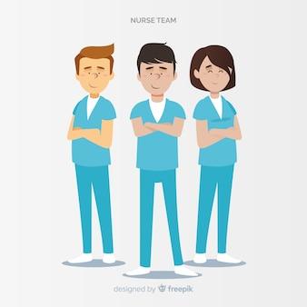 Hand drawn nurse team