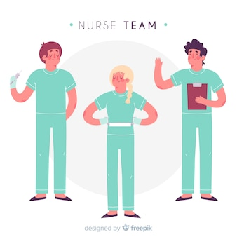 Hand drawn nurse team