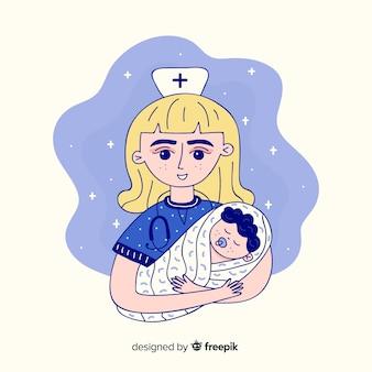 Hand drawn nurse with patient