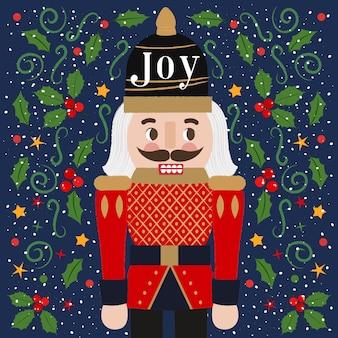 クリスマスの手描きくるみ割り人形の背景