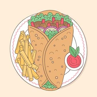 手描きの栄養価の高いシャワルマのイラスト
